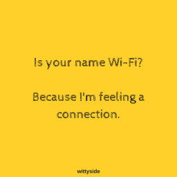 Is your name Wi-Fi_ Because I'm feeling a connection.